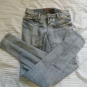 Skinny jeans! Light blue and white.
